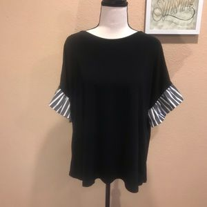 Cece Black Top With Striped Ruffled Sleeves Sz XL